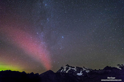 The Northern Lights (Aurora Borealis) over Mount Shuksan in the North Cascades, Washington, USA.