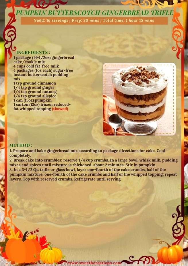 PUMPKIN BUTTERSCOTCH GINGERBREAD TRIFLE RECIPE