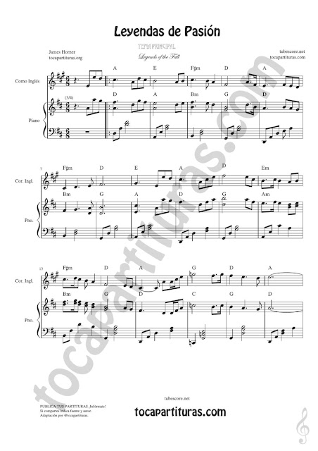 1 Leyendas de Pasión Leyendas de Pasión Partitura de Corno Inglés Legends of the Fall Sheet Music for English horn