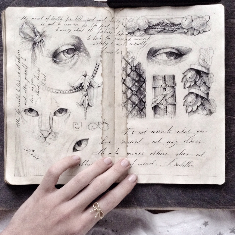 02-Elena-Limkina-Moleskine-Illustration-Adorned-with-Lovely-Calligraphy-www-designstack-co