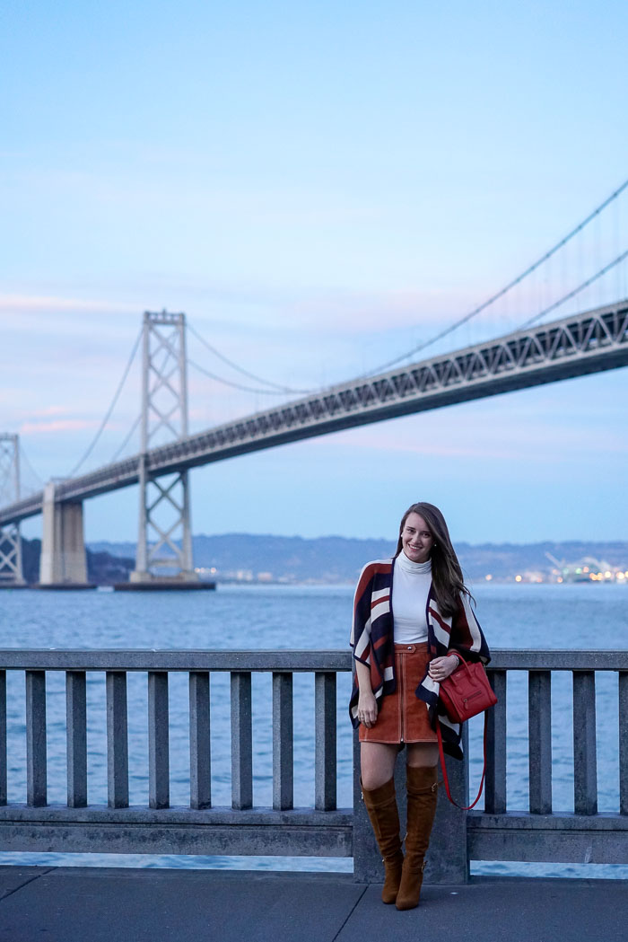 Krista Robertson, Covering the Bases, Travel Blog, NYC Blog, Preppy Blog, Style, Fashion Blog, SF restaurants, Fashion, Style, Travel Post, Travel, San Francisco Trip, California, Vacation in SF, Bay Bridge, Waterbar SF, 70s inspired fashion, suede skirts