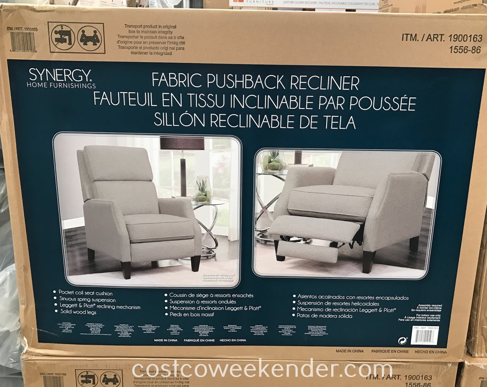 Kick back and relax after a long day of work in the Synergy Home Fabric Pushback Recliner