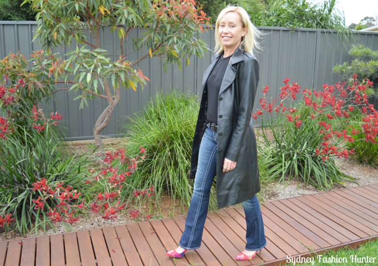 Long Black Leather Coat, True Religion Jeans, Nine West Floral Pumps