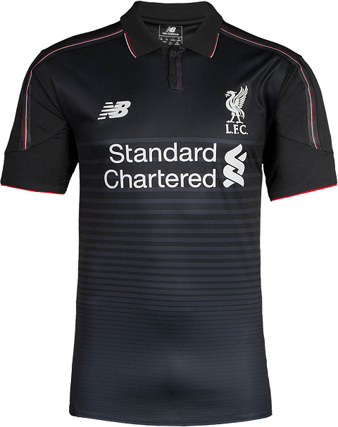 0a8b3f2ae On the front of the new Liverpool 2015-2016 Kit are differently sized dark  gray hoops