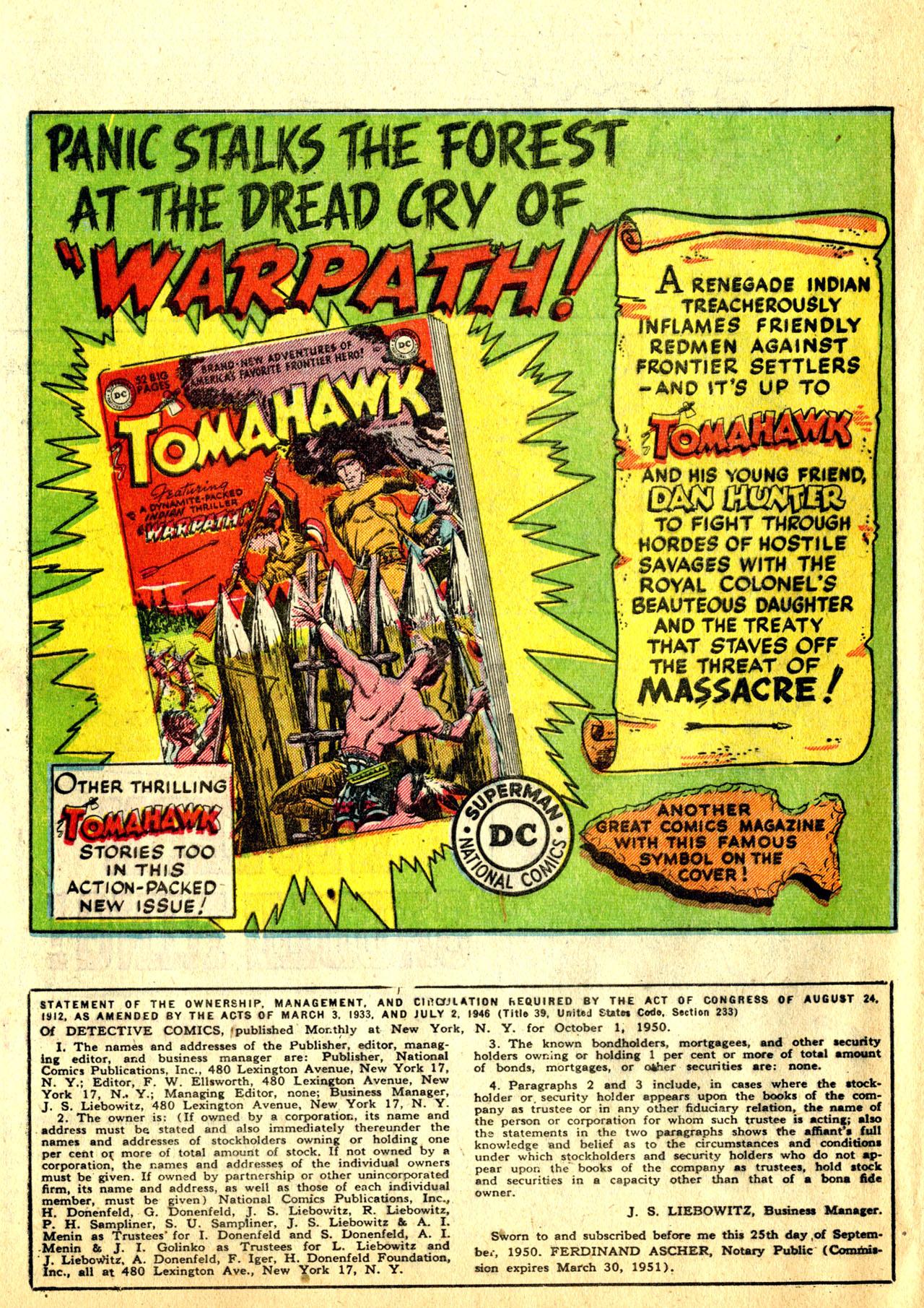 Read online Detective Comics (1937) comic -  Issue #168 - 40