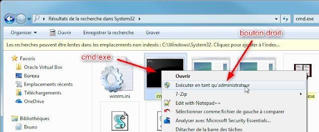 Exécuter cmd.exe en mode Administrateur