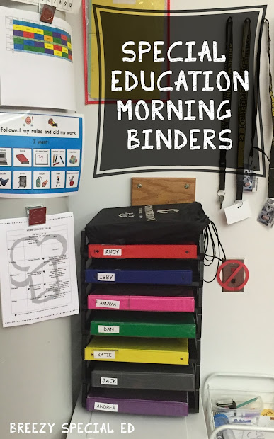 Morning Binders In Special Education Classroom