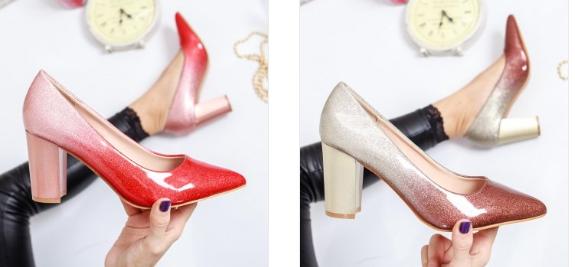 Pantofi bej, rosii lacuiti in degrade cu toc gros eleganti