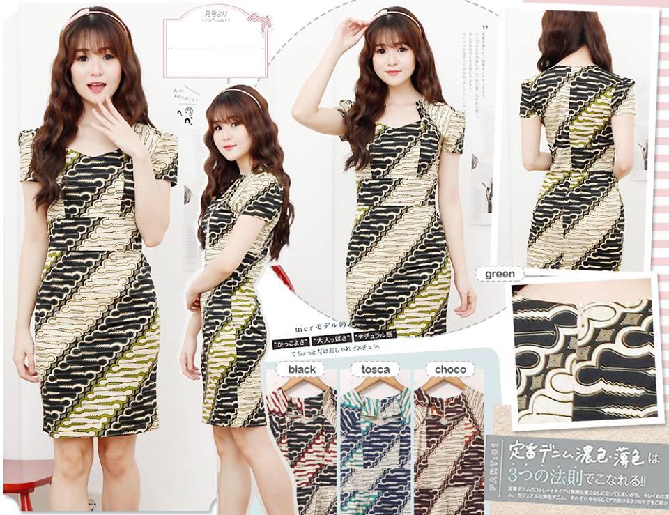 Jual Baju Batik Batik Dress Asymetris - 13093