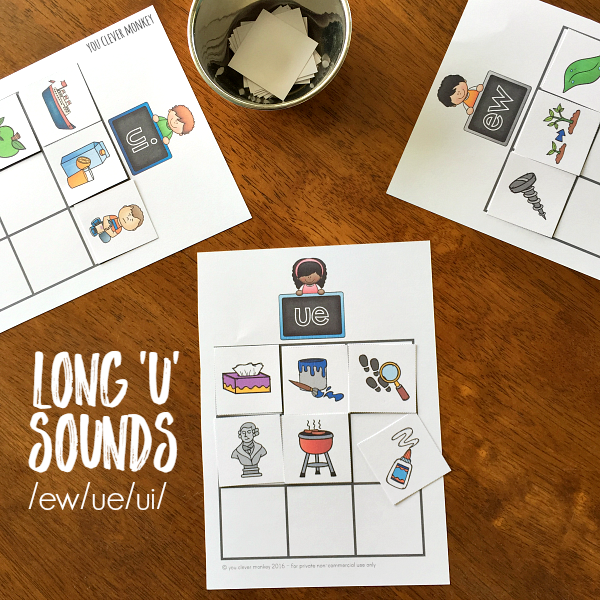 Printable Activities for Long 'U' Sounds - EW/UE/UI. Perfect for literacy centres or Daily 5 Word Work | you clever monkey