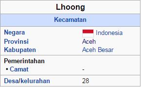 Nama nama desa dan mukim di kecamatan lhoong Aceh Besar