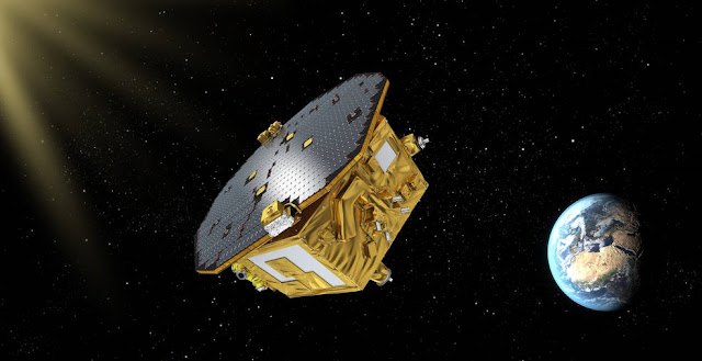 The LISA Pathfinder spacecraft will help pave the way for a mission to detect gravitational waves. NASA/JPL developed a thruster system onboard. Credits: ESA