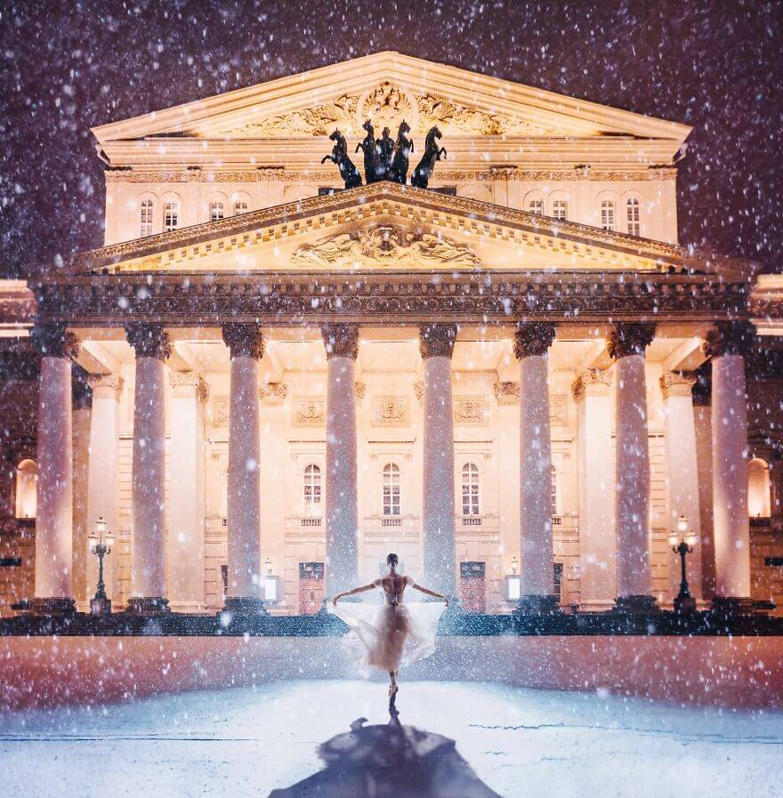 15 Pictures Of Girls In Dresses That Beautifully Match Their Backgrounds - Bolshoi Theatre, Moscow, Russia. Model Darian