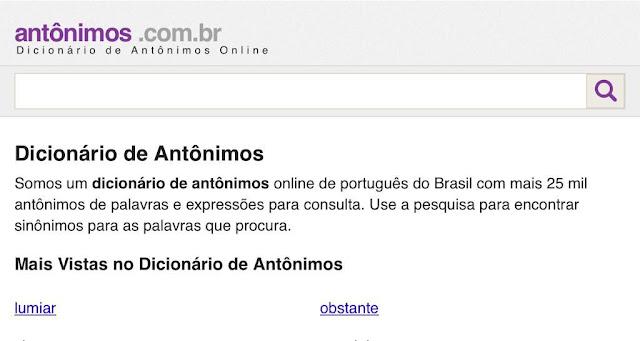 Dicionário de antônimos de português