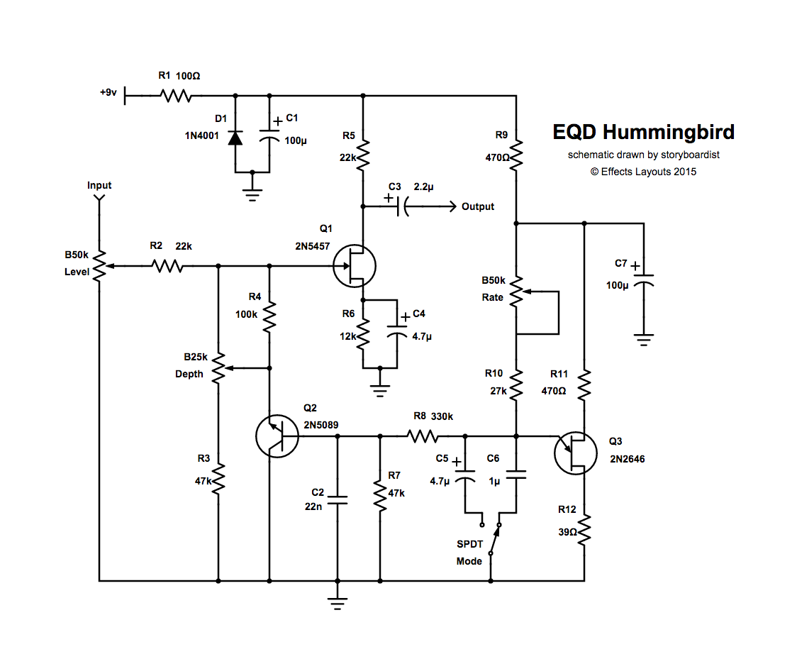 ... schematic for this one and ended up just tracing the vero layout from  the Tagboard Effects blog. So here you go internet, the schem for the  Hummingbird: