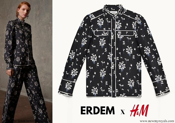 Crown princess Victoria wore  a floral blouse from Erdem x H&M Collection