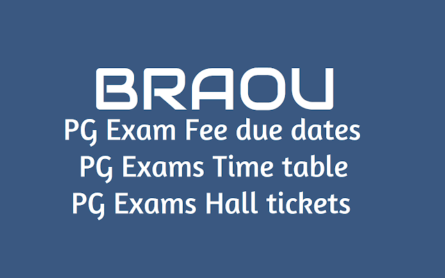 BRAOU PG Exams Time table, Hall tickets, Exam Fee due Dates 2019
