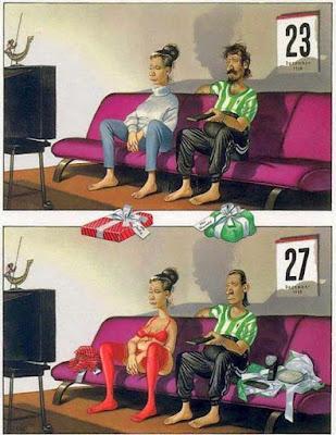 Lustige Ehe Bilder - Couch, Fernsehen, Weihnachten