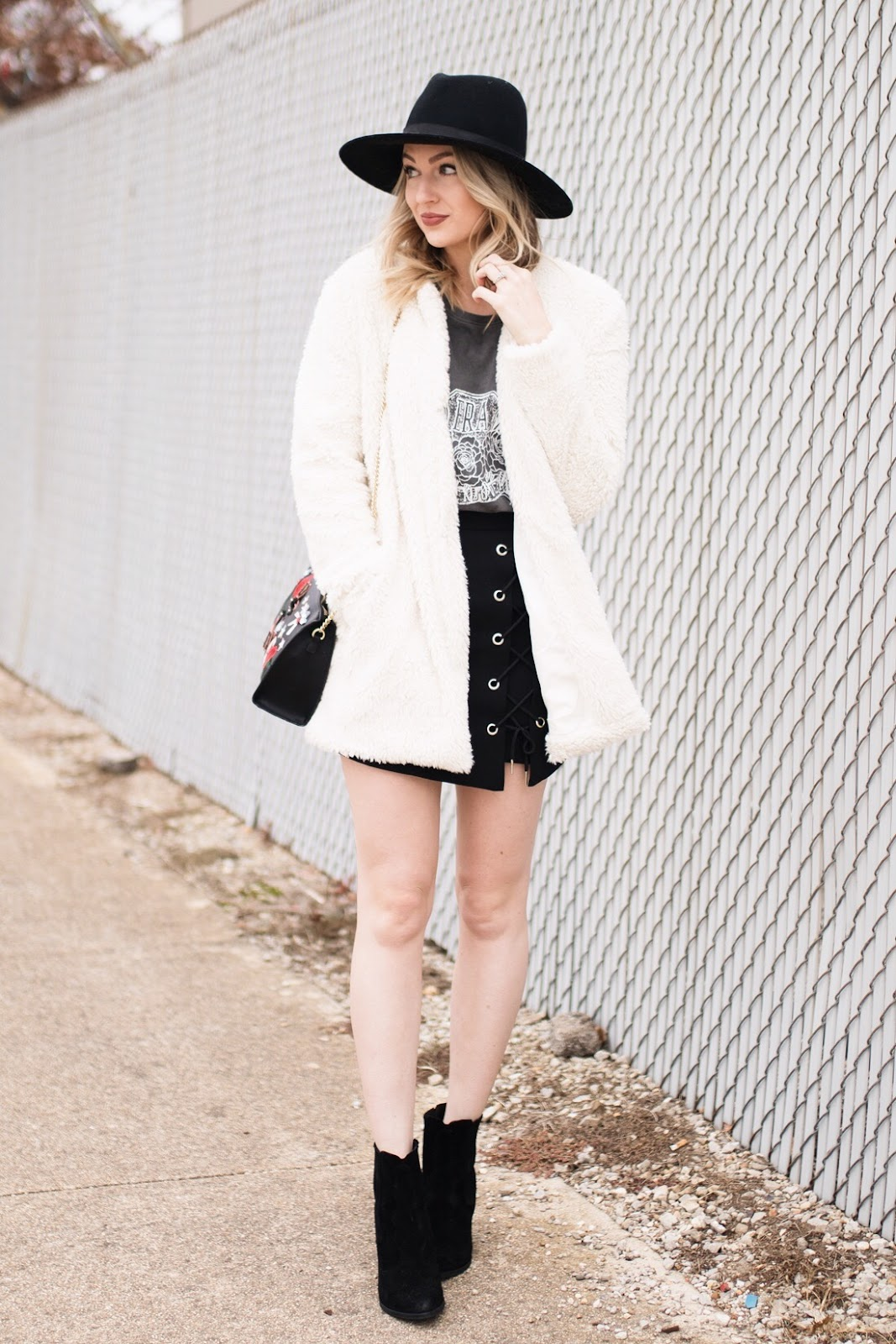 teddy jacket and mini skirt