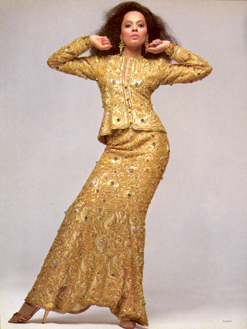 Diana Ross wearing Yves Saint Laurent photographed by Richard Avedon for Vogue US December 1981 via www.fashionedbylove.co.uk