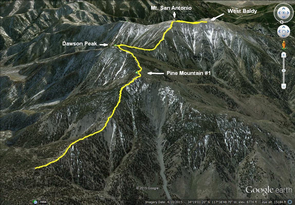 Iron Hiker Mt San Antonio North Backbone West Baldy