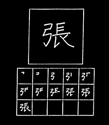 kanji to stretch/strain
