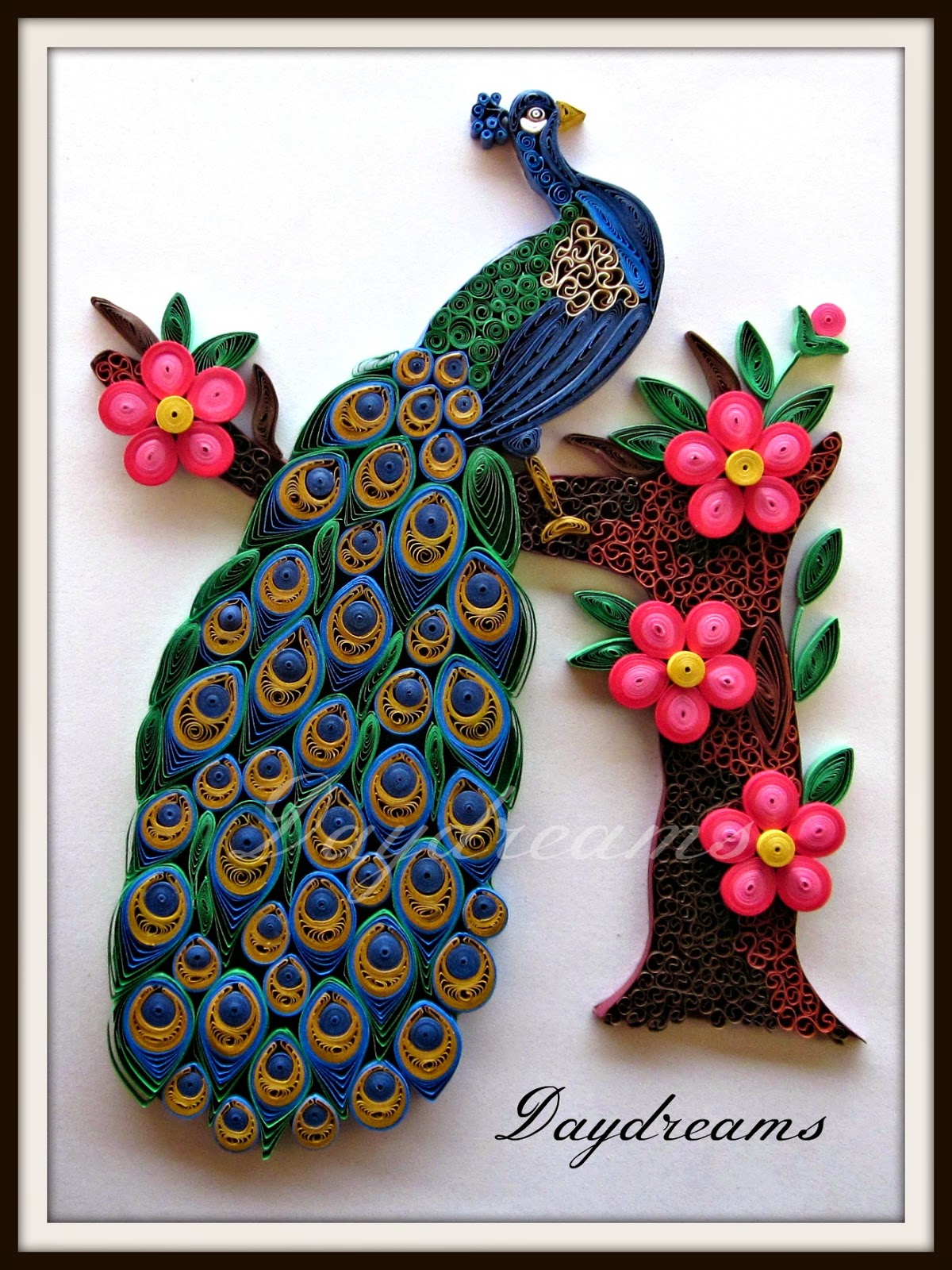 Daydreams quilled peacock for Quilling paper art