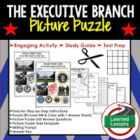 Executive Branch, Civics Test Prep, Civics Test Review, Civics Study Guide, Civics Interactive Notebook Inserts, Civics Picture Puzzles