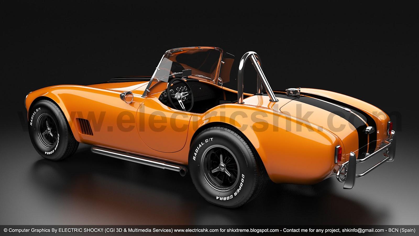 Shelby AC Cobra amarillo y negro vista completa trasera lateral