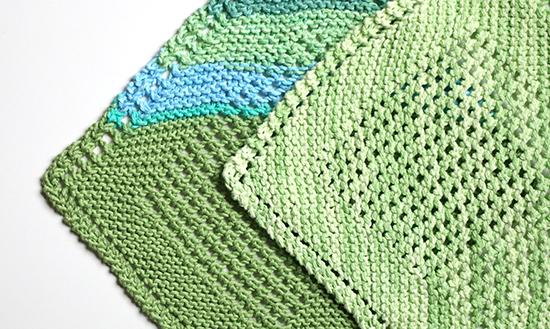 Knit Diagonal Cotton Dishcloths or Washcloths