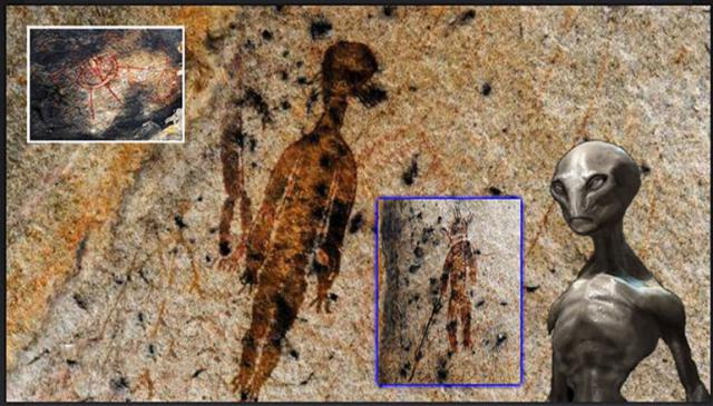 Archaeologists Discover 10,000 Year Old Cave Paintings Depicting UFOs And Alien Beings