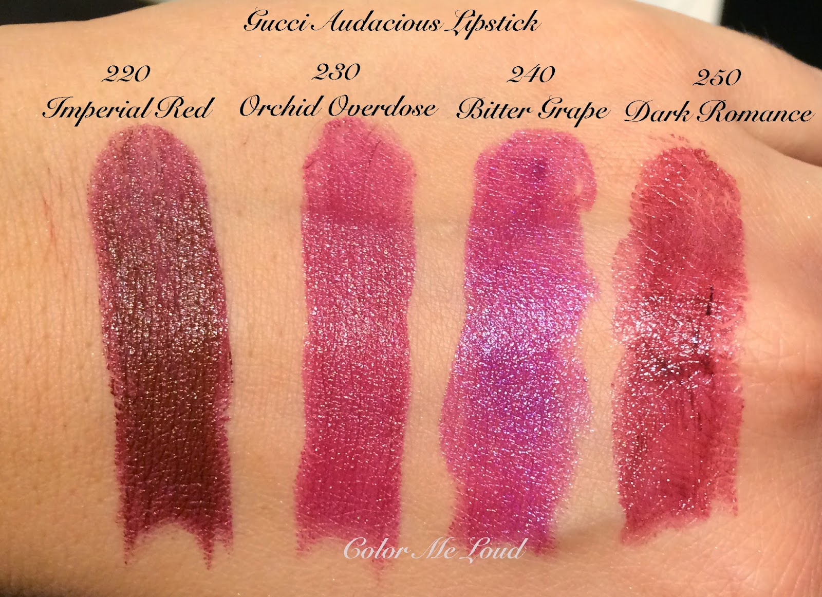 Gucci Audacious Lipsticks, Imperial Red, Orchid Overdose, Bitter Grape and Dark Romance