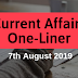 Current Affairs One-Liner: 7th August 2019