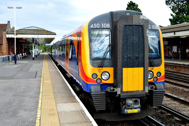 South West Trains Class 450 108 EMU stands in Brookwood railway station, Surrey, before continuing on to Waterloo station