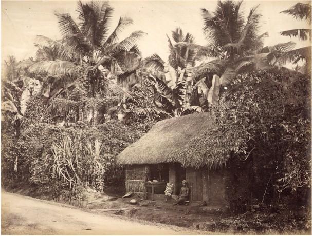 Banana Seller Sitting Outside Of A Hut Ceylon Sri Lanka