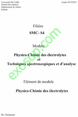 Cours Chimie des électrolytes SMC3 S3 PDF
