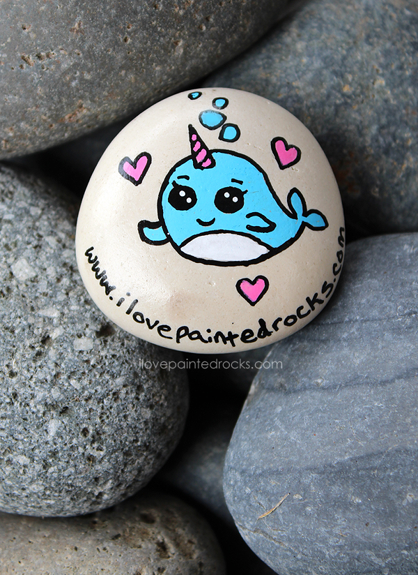 How to draw a narwhal on a rock - I love this rock painting idea for a chubby unicorn whale.