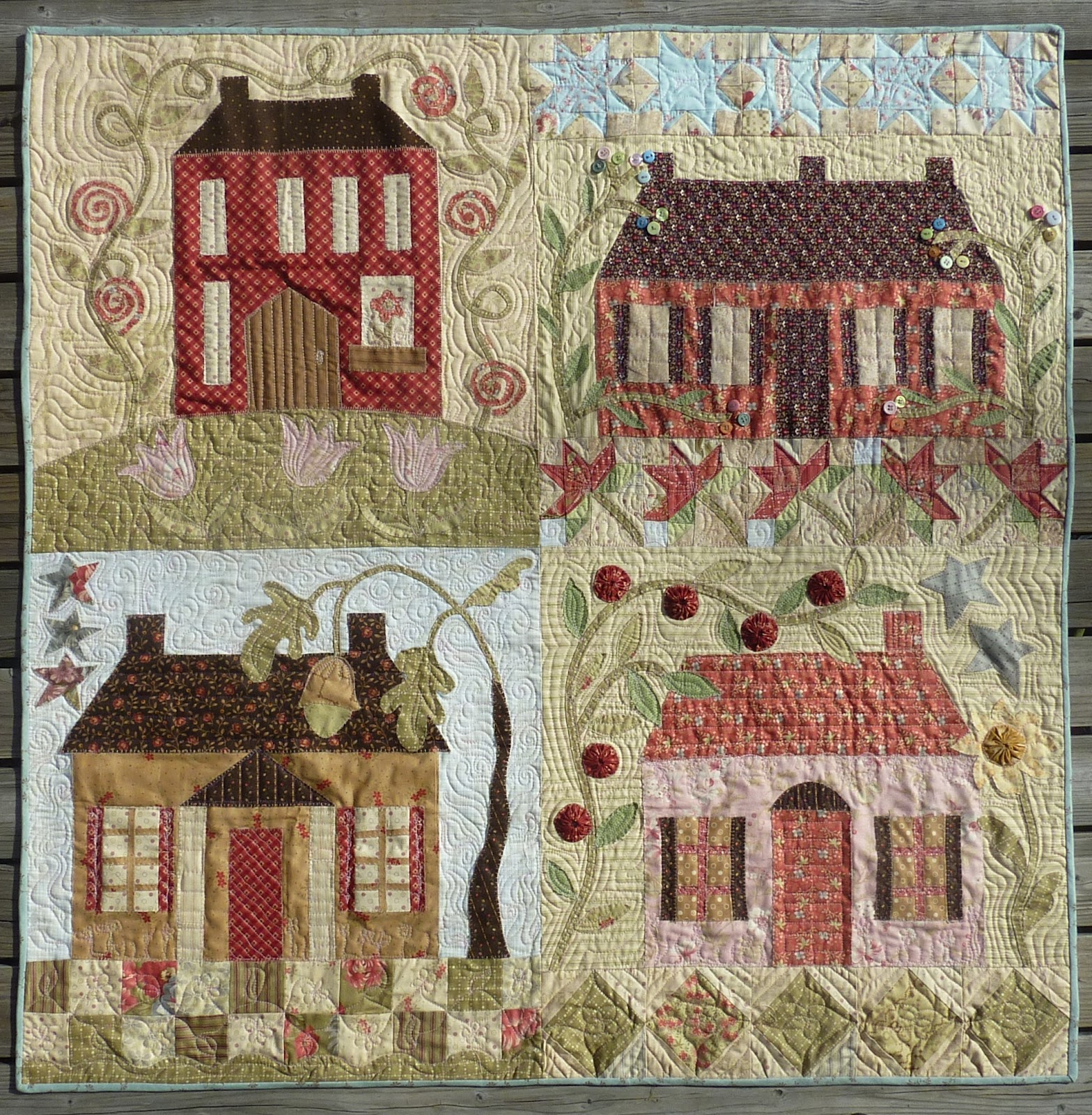 The designs of French country quilts vary greatly, but often include a patchwork-style construction that combines many themes across a single piece of fabric. You will find floral designs, geometric patterns, shabby chic motifs, and more.