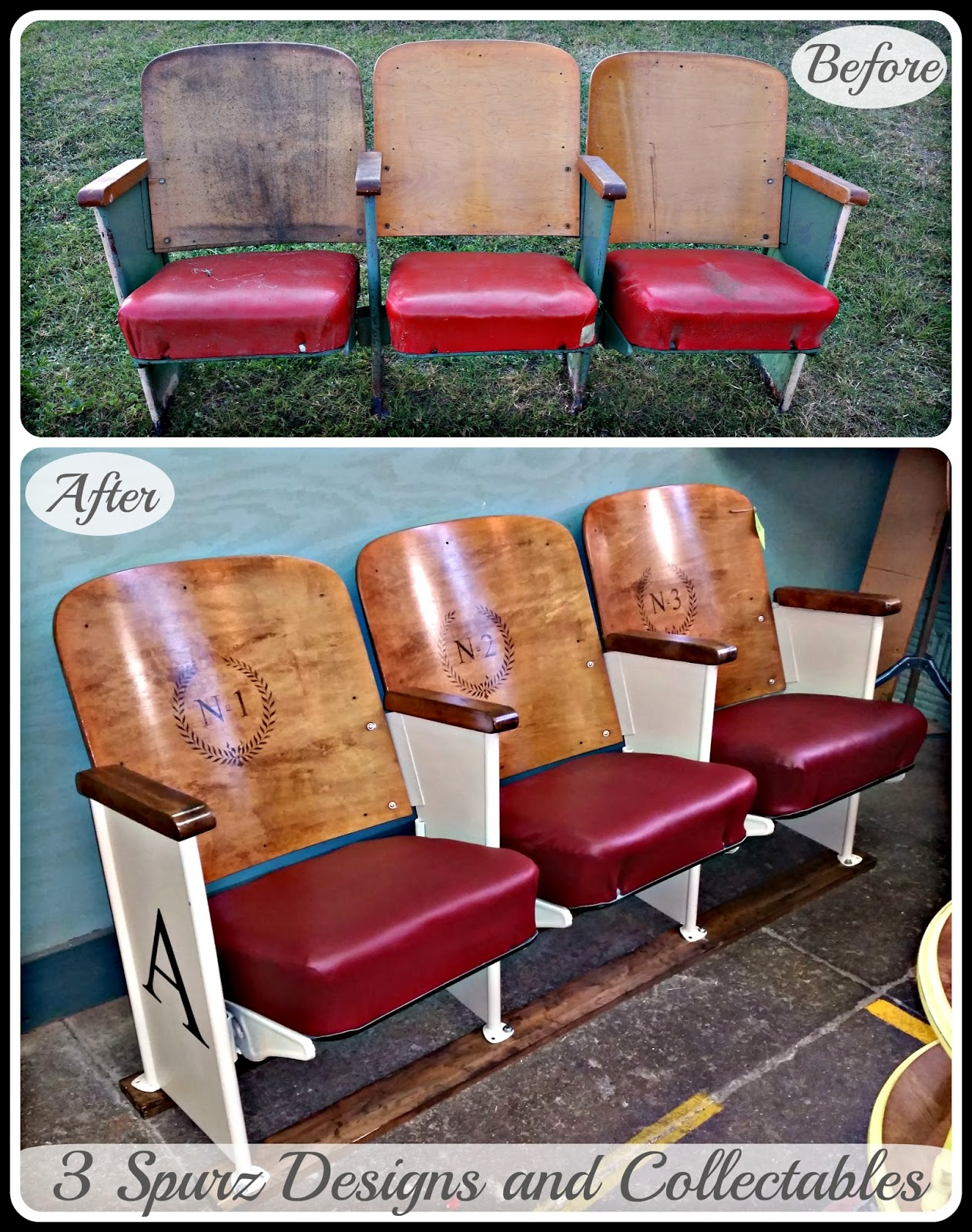 Movie Theater Chairs 3 Spurz Dandc Repurposed Refurbished Creations Old