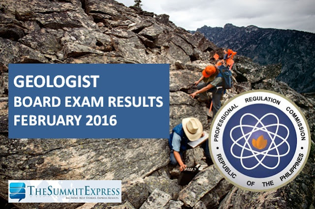 February 2016 Geologist board exam results