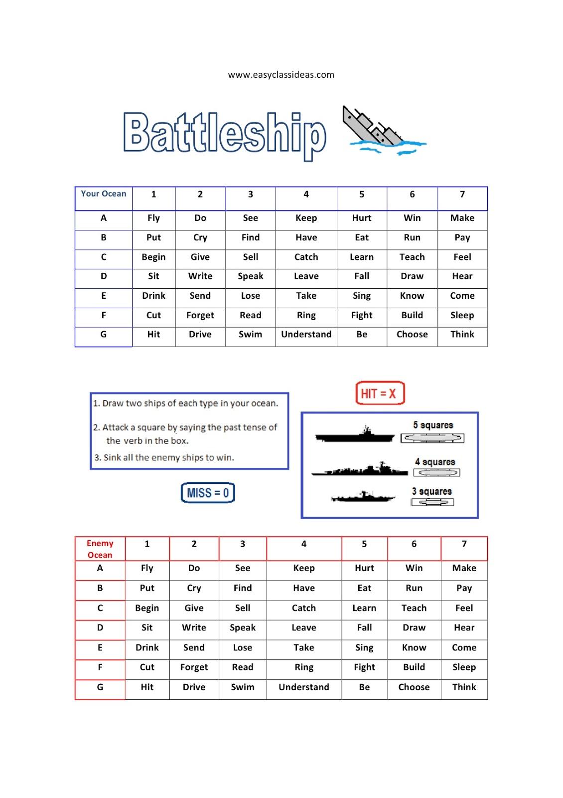 Past Irregular Verb Game Battleship