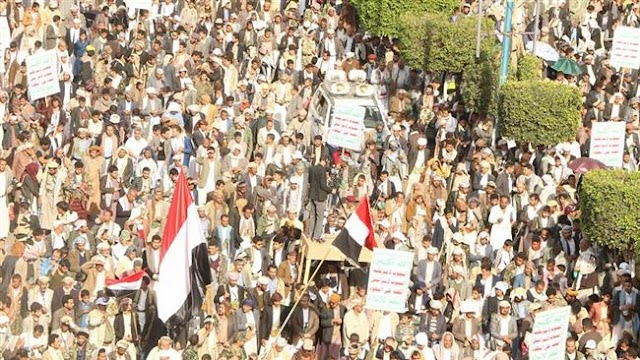 Tens of thousands of people rally in Sana'a against Saudi onslaught on Yemen