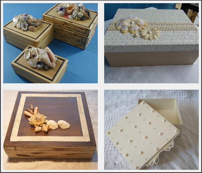 caixinhas com pérolas e conchas