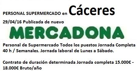 Lanzadera de Empleo Virtual Cáceres, Oferta Mercadona