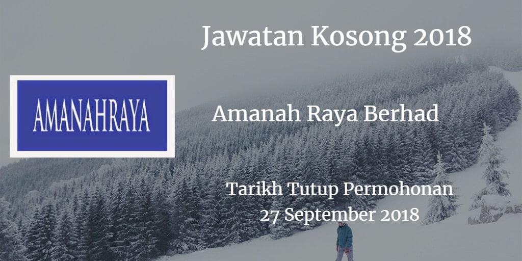 Jawatan Kosong Amanah Raya Berhad 27 September 2018