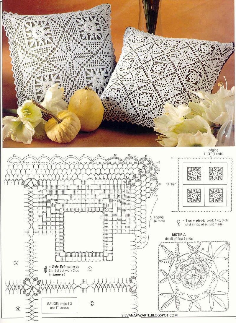 Almofadas de crochê com grafico
