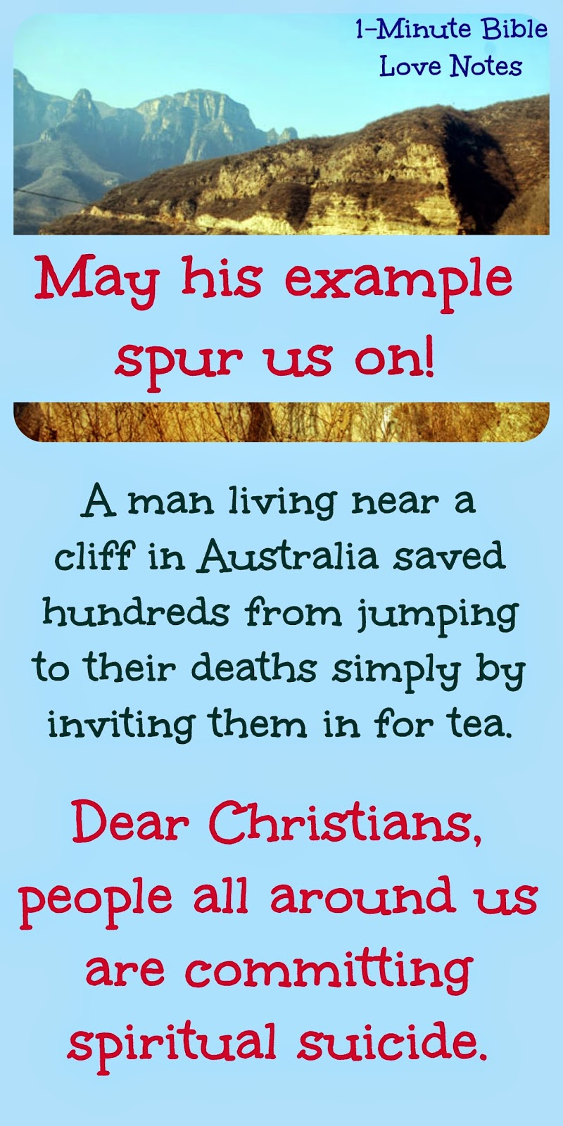 Don Ritchie, Stopped people from jumping off cliff in Australia, Jesus calls us to rescue those from spiritual suicide