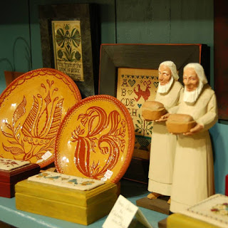 Redware-plates-at-Ephrata-Cloister-museum-store