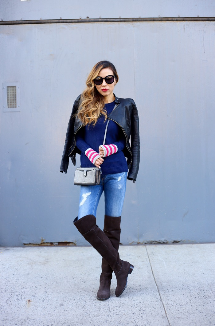 caslon Contrast Cuff Crewneck Sweater, tory burch Simone Over the Knee Boots, karen walker super duper sunglasses, coach weekender crossbody, AG jeans, blank denim veggan leather jacket, street style, fashion blog