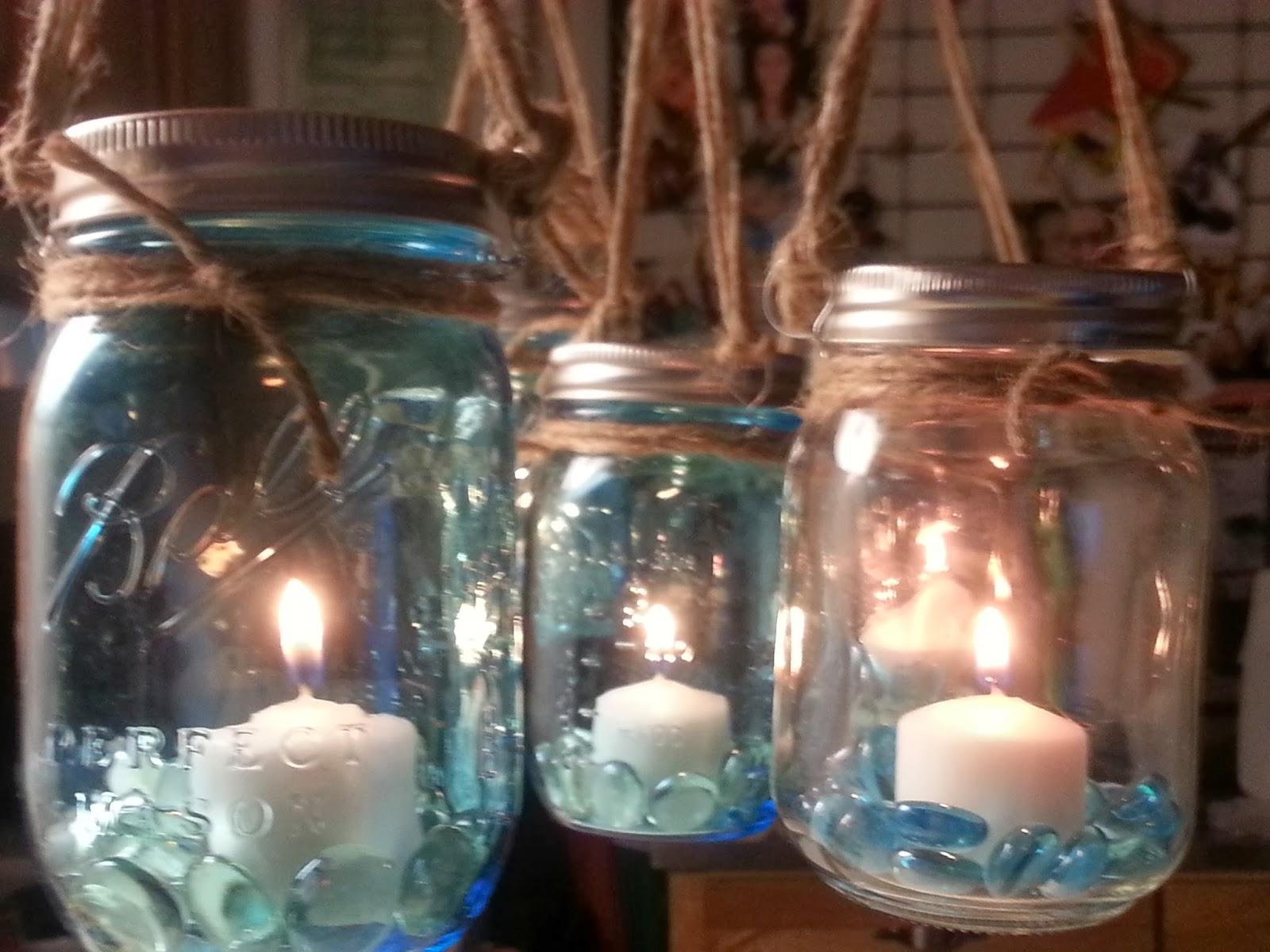 Freckles N Family Mason Jars Rustic Industrial Hanging Tea Lights